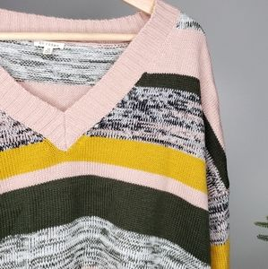 En Créme Knitted Cropped Oversize Stripe Sweater